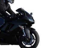 Motocycliste sur un vélo noir de sport d'isolement sur le fond blanc image stock