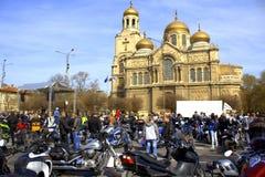 Motocyclistes se réunissant, Varna Bulgarie Images stock