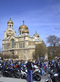 Motocyclistes se réunissant, Varna Bulgarie Photo stock