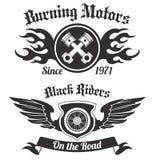 Motocykl etykietki czerń ilustracji