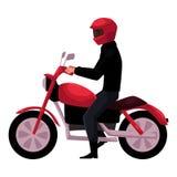 Motocykl, motocyklu jeździec jest ubranym hełm, boczny vew, miastowy motorowy transport Obraz Stock