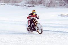 motocykl na lodzie zamarznięty Jeziorny Baikal Obraz Royalty Free