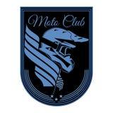 Motocykl odznaki loga emblemata wektoru świetlicowy szablon royalty ilustracja