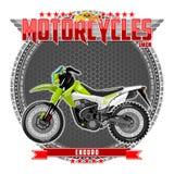 Motocykl pewny typ na symbolicznym tle, ilustracja wektor