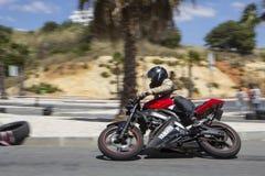 Motocykl w ruchu Zdjęcia Stock