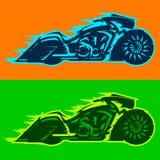 Motocykl wektorowa ilustracja, obyczajowy motocykl zakrywający w płomieniach royalty ilustracja