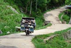 Motocykl z owoc i warzywo dla sprzedaży na drodze Obrazy Stock
