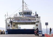 Motocykliści Czeka prom obrazy stock