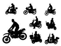 Motocyklista sylwetki Zdjęcia Stock