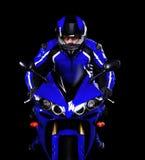 Motocyklista w zmroku - błękit obrazy royalty free