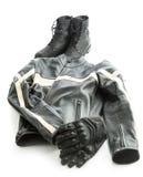 Motocyklu buty, kurtka i rękawiczki, zdjęcia royalty free