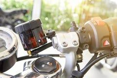 Motocyklu hamulcowy fluid, hamulcowy rezerwuar zdjęcie royalty free