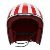 Motocyklu hełma czerwony biały frontowy widok Zdjęcie Stock