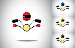 Motocyklu motocyklu kierowcy hełma pojęcia jeździecki abstrakcjonistyczny set ilustracji