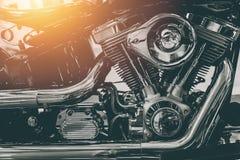 Motocyklu parowozowy błyszczący chrom fotografia royalty free