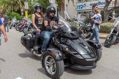 Motocyklu przedstawienie w Palamos w Hiszpania 27 05 2018 Hiszpania Obrazy Stock
