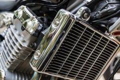 Motocyklu ` s chromowany silnik Motocyklu silnika zakończenie up strzelał Zdjęcia Royalty Free