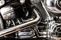 Motocyklu silnik i wydmuchowe drymby Zdjęcia Stock