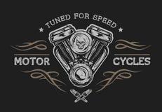 Motocyklu silnik w rocznika stylu Zdjęcie Stock