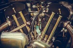 Motocyklu V bliźniaka silnik obraz stock