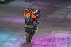 Motocyklu wyczynu kaskaderskiego przedstawienie Fotografia Stock