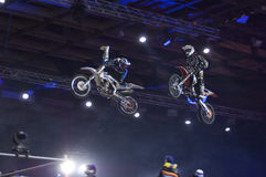 Motofreestile. Two riders in air Stock Photography