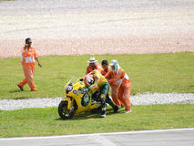 MotoGP 250cc rider accident Royalty Free Stock Photos
