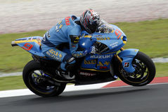 Motogp. Japanese Nobuatsu Aoki Rizla Suzuki at 2007 Polini Malaysian Motorcycle Grand Prix Sepang Circuit Malaysia Royalty Free Stock Photo
