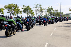 Motogp Biker Convoy. Image of a convoy of bikers attending the Malaysian MotoGP held at Sepang, Malaysia on 19 October, 2008 Royalty Free Stock Images