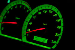 Motometer and speedometer green highlighted in car at night Stock Images