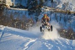 Motoneige mobile dans la forêt d'hiver dans les montagnes Images libres de droits