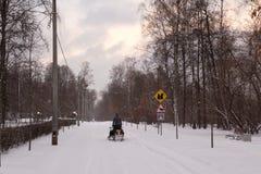 Motoneige sur la route couverte de neige Photos libres de droits