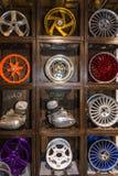 Motopark-2015 (BikePark-2015) 绘和镀铬物镀层各种各样的摩托车零件的示范材料 库存照片