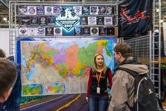 Motopark-2015 (BikePark-2015) Der Ausstellungsstand des internationalen Motocrosses bewegen Gedächtnis 2015 wellenartig Stockfoto