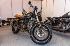 Motopark-2015 (BikePark-2015) Der Ausstellungsstand mit Motorrädern Stockbild