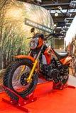 Motopark-2015 (BikePark-2015) Der Ausstellungsstand mit Motorrad Rennläufer-Förster RC200LT Lizenzfreies Stockbild
