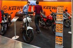 Motopark-2015 (BikePark-2015) Der Ausstellungsstand von Brandt Lizenzfreie Stockfotos