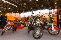 Motopark-2015 (BikePark-2015) Der Stand mit Motorrädern Lizenzfreie Stockbilder