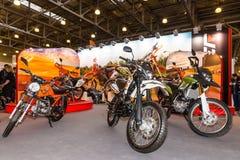 Motopark-2015 (BikePark-2015) Der Stand mit Motorrädern Stockbild
