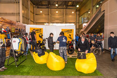 Motopark-2015 (BikePark-2015). The exhibition stand. Ducati Scrambler. Stock Photography
