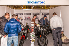Motopark-2015 (BikePark-2015). The exhibition stand of Ecomotors Shop. Electric-motorcycles. Royalty Free Stock Photography