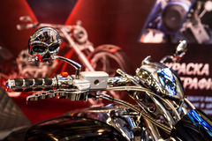 Motopark-2015 (BikePark-2015). The exhibition stand of MGS-Moto.  Handlebar of the motorcycle with the original design. Royalty Free Stock Photo