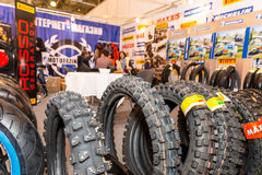 Motopark-2015 (BikePark-2015). The exhibition stand of online store of Moto tires. Stock Images