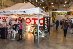 Motopark-2015 (BikePark-2015). The exhibition stand-tent of the journal Motoexpert. Stock Images