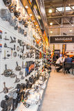 Motopark-2015 (BikePark-2015) O suporte da exposição de MotoLand O suporte com peças sobresselentes Imagens de Stock