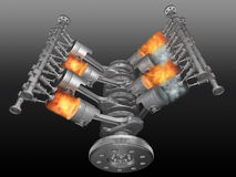 Motor. V8 motor pistons, valves, con-rod and crankshaft in work. 3D image vector illustration