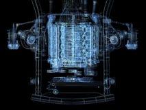 Motor. Isolated motor-car engine on a frame stock illustration
