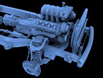 Motor. Isolated motor-car engine on a frame royalty free illustration
