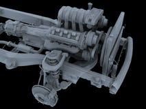 Motor. Isolated motor-car engine on a frame vector illustration