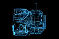 Motor (3D xray blue). Motor (3D xray blue transparent Royalty Free Stock Photos